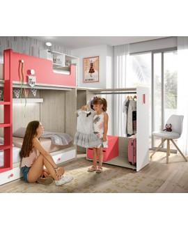 Dormitorio juvenil con litera y armario